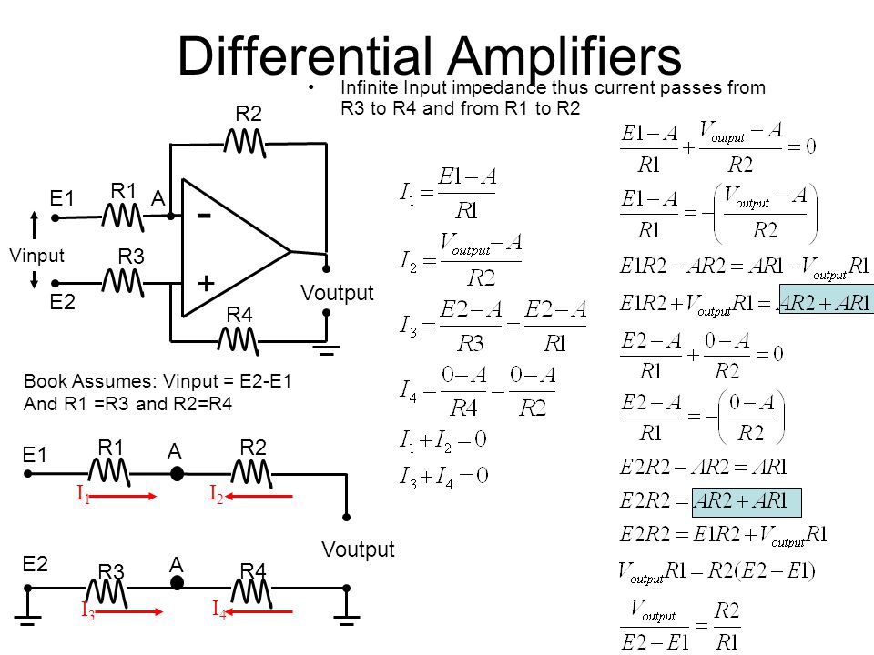Differential Amplifiers Infinite Input impedance thus current passes from R3 to R4 and from R1 to R2 R2 - + Voutput R1 A R3 Voutput I4I4 I3I3 R1R2 I1I