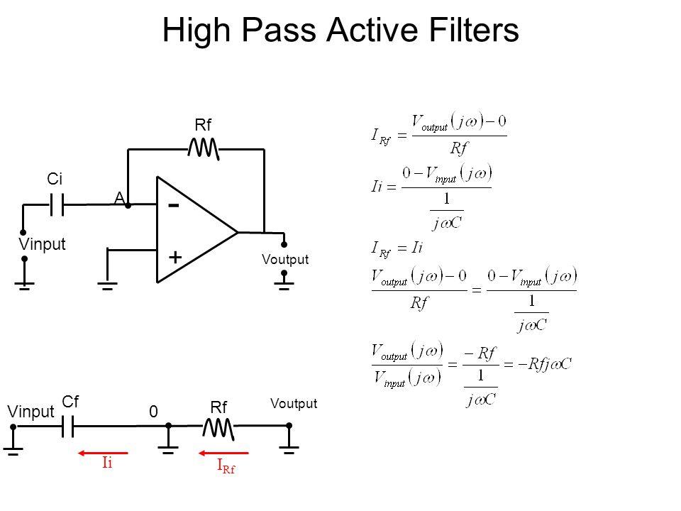 High Pass Active Filters - + Voutput Vinput A Rf Ci Rf Voutput 0 I Rf Ii Vinput Cf
