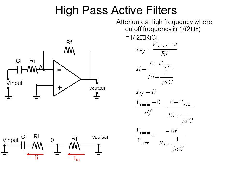 High Pass Active Filters Attenuates High frequency where cutoff frequency is 1/(2  ) =1/ 2  RiCi - + Voutput Vinput Ri A Rf Ci Rf Ri Voutput 0 I Rf Ii Vinput Cf
