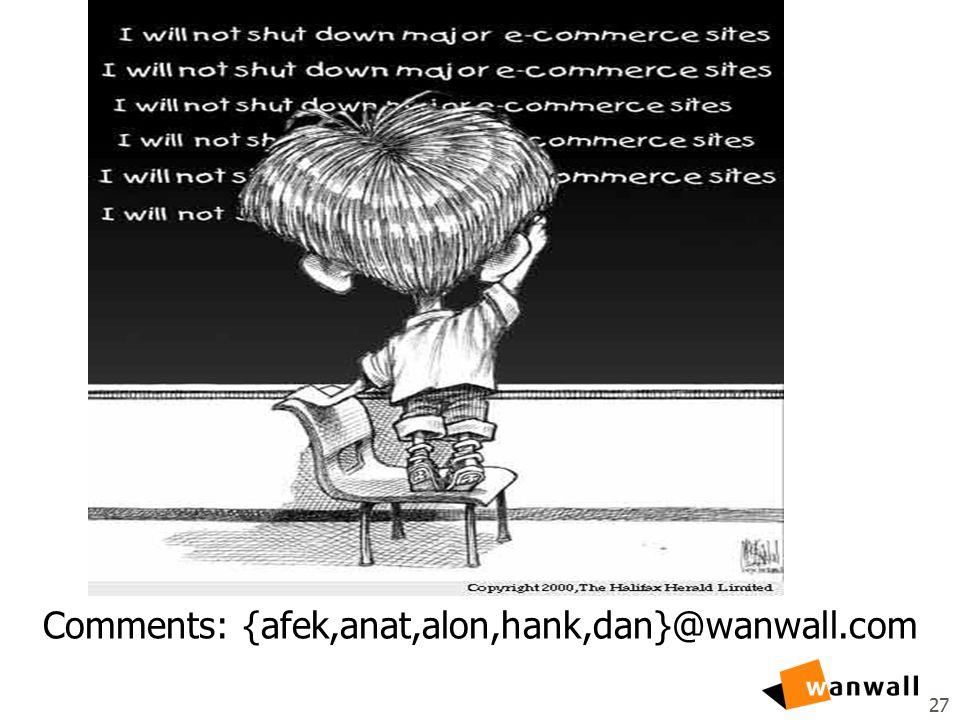 27 Comments: {afek,anat,alon,hank,dan}@wanwall.com