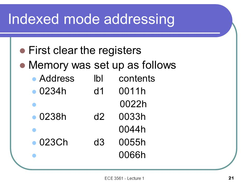 Indexed mode addressing First clear the registers Memory was set up as follows Addresslblcontents 0234hd10011h 0022h 0238hd20033h 0044h 023Chd30055h 0