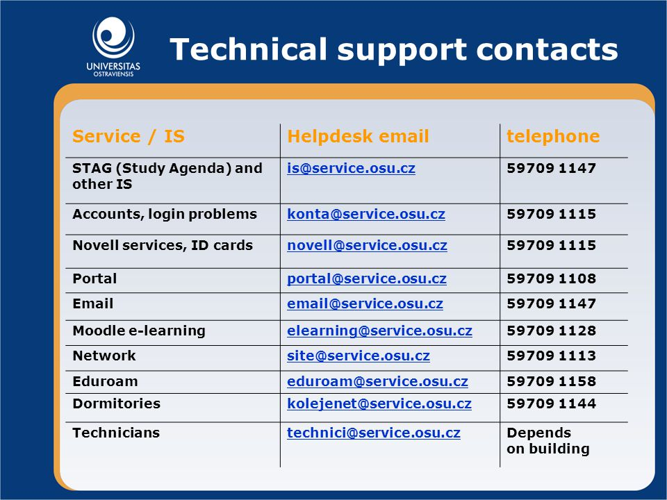 Technical support contacts Service / ISHelpdesk  telephone STAG (Study Agenda) and other IS 1147 Accounts, login 1115 Novell services, ID Moodle on building