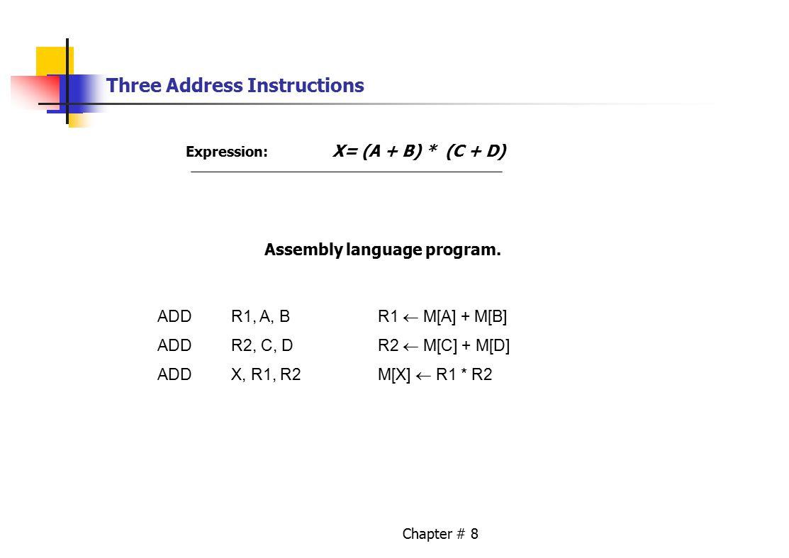 Chapter # 8 Three Address Instructions Expression: X= (A + B) * (C + D) Assembly language program. ADDR1, A, BR1  M[A] + M[B] ADDR2, C, DR2  M[C] +