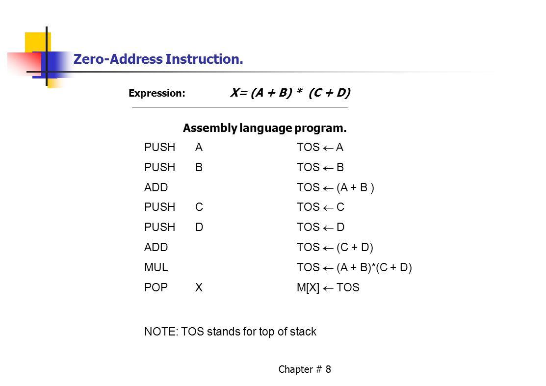 Chapter # 8 Zero-Address Instruction. Expression: X= (A + B) * (C + D) Assembly language program.