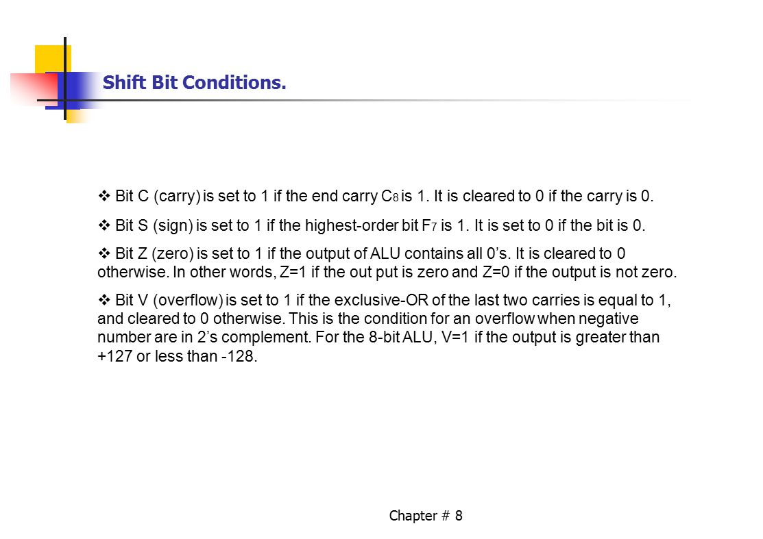 Chapter # 8 Shift Bit Conditions. Bit C (carry) is set to 1 if the end carry C 8 is 1.