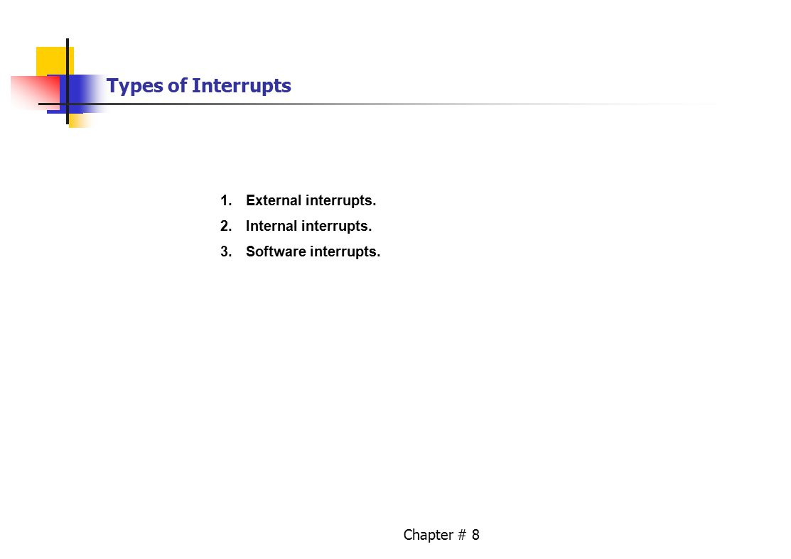 Chapter # 8 Types of Interrupts 1.External interrupts. 2.Internal interrupts. 3.Software interrupts.