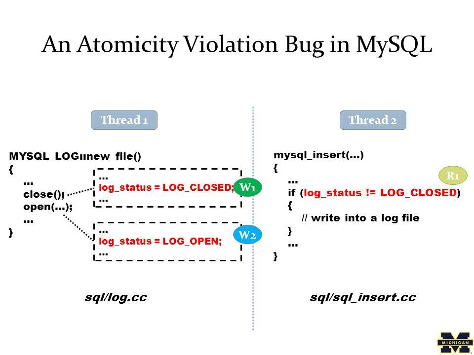 An Atomicity Violation Bug in MySQL MYSQL_LOG::new_file() { … close(); open(…); … } mysql_insert(…) { … if (log_status != LOG_CLOSED) { // write into a log file } … } … log_status = LOG_CLOSED; … log_status = LOG_OPEN; … Thread 1 sql/log.ccsql/sql_insert.cc W2 W1 R1 Thread 2
