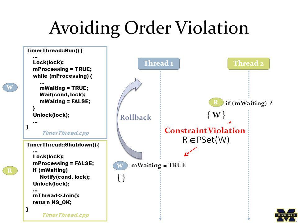 Avoiding Order Violation TimerThread::Run() {...