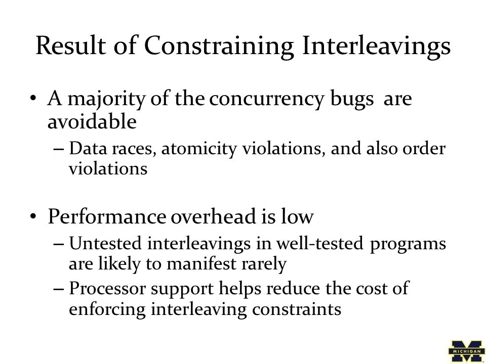 Result of Constraining Interleavings A majority of the concurrency bugs are avoidable – Data races, atomicity violations, and also order violations Pe