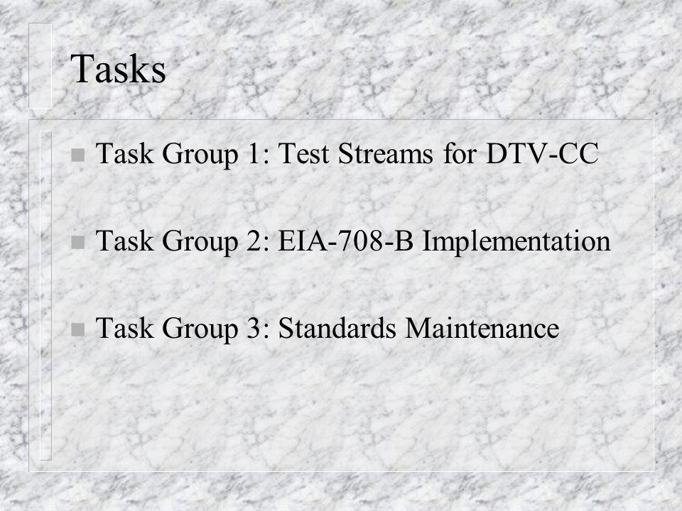 Tasks n Task Group 1: Test Streams for DTV-CC n Task Group 2: EIA-708-B Implementation n Task Group 3: Standards Maintenance