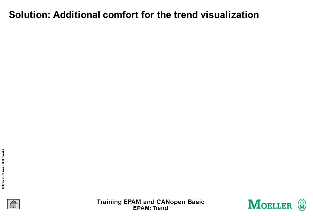 Schutzvermerk nach DIN 34 beachten 05/04/15 Seite 85 Training EPAM and CANopen Basic Solution: Additional comfort for the trend visualization EPAM: Trend