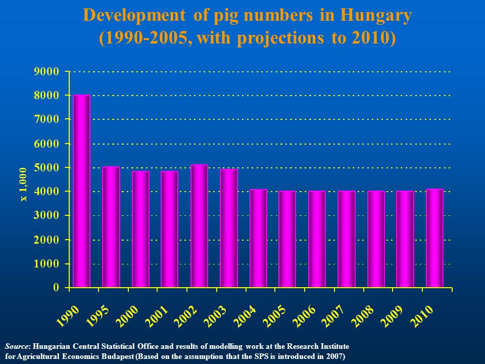 Development of pig numbers in Hungary (1990-2005, with projections to 2010) Source: Hungarian Central Statistical Office and results of modelling work at the Research Institute for Agricultural Economics Budapest (Based on the assumption that the SPS is introduced in 2007)
