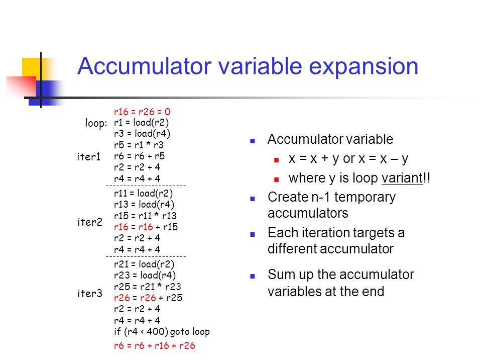Accumulator variable expansion Accumulator variable x = x + y or x = x – y where y is loop variant!! Create n-1 temporary accumulators Each iteration