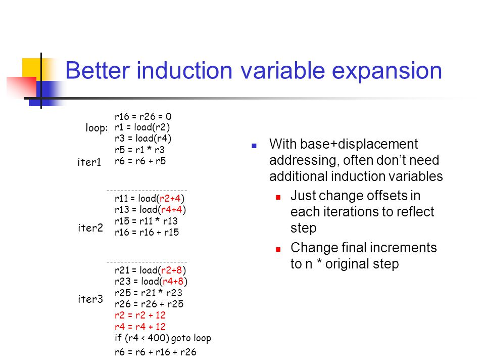 Better induction variable expansion With base+displacement addressing, often don't need additional induction variables Just change offsets in each iterations to reflect step Change final increments to n * original step r1 = load(r2) r3 = load(r4) r5 = r1 * r3 r6 = r6 + r5 r11 = load(r2+4) r13 = load(r4+4) r15 = r11 * r13 r16 = r16 + r15 r21 = load(r2+8) r23 = load(r4+8) r25 = r21 * r23 r26 = r26 + r25 r2 = r2 + 12 r4 = r4 + 12 if (r4 < 400) goto loop iter1 iter2 iter3 loop: r16 = r26 = 0 r6 = r6 + r16 + r26
