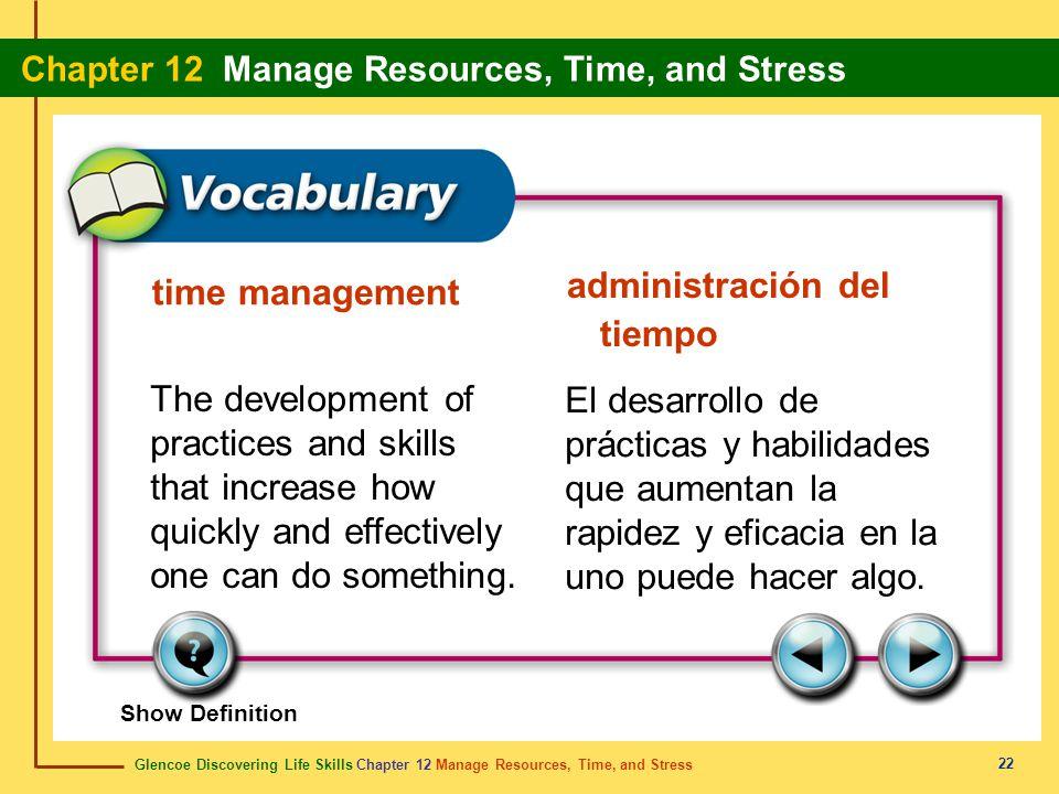 Glencoe Discovering Life Skills Chapter 12 Manage Resources, Time, and Stress Chapter 12 Manage Resources, Time, and Stress 22 time management adminis