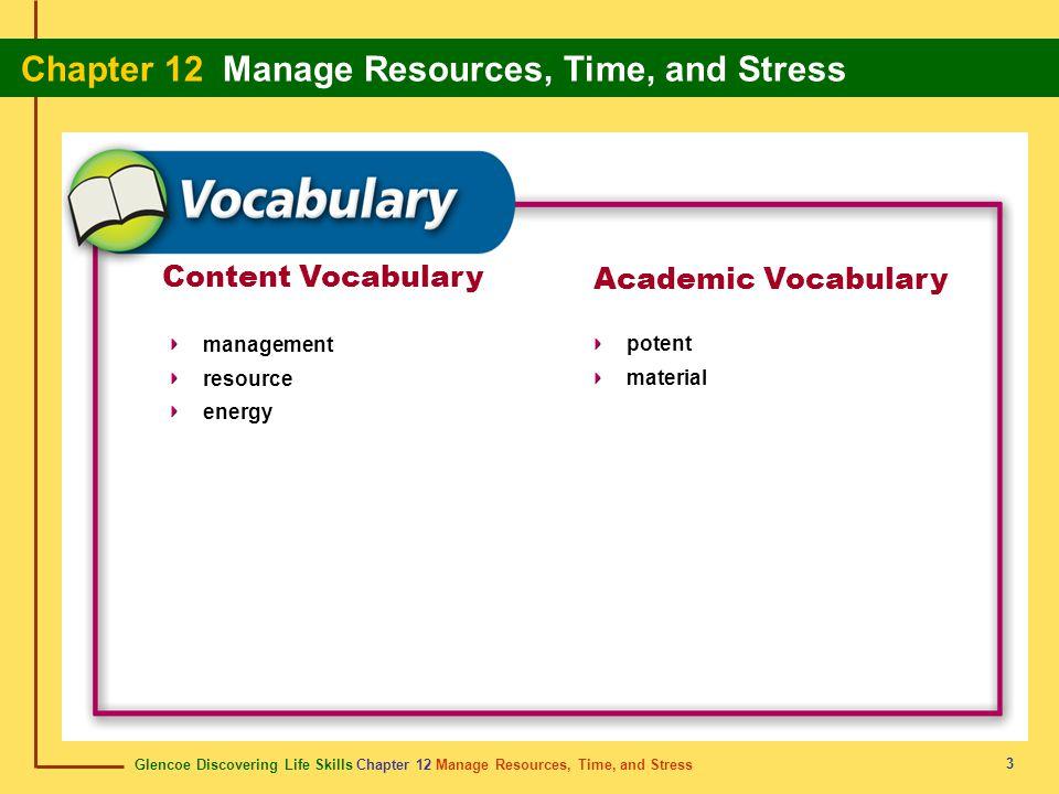 Glencoe Discovering Life Skills Chapter 12 Manage Resources, Time, and Stress Chapter 12 Manage Resources, Time, and Stress 3 Content Vocabulary manag