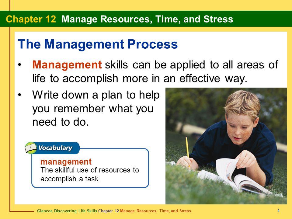 Glencoe Discovering Life Skills Chapter 12 Manage Resources, Time, and Stress Chapter 12 Manage Resources, Time, and Stress 4 The Management Process M