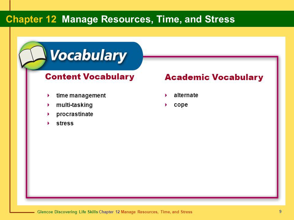 Glencoe Discovering Life Skills Chapter 12 Manage Resources, Time, and Stress Chapter 12 Manage Resources, Time, and Stress 9 Content Vocabulary time