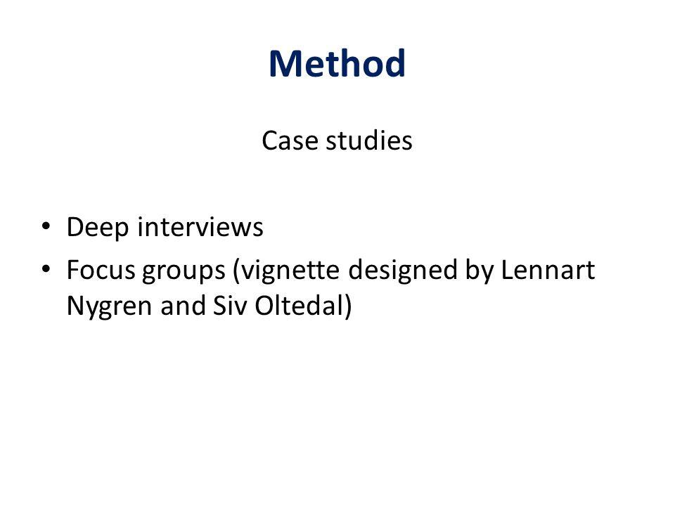 Method Case studies Deep interviews Focus groups (vignette designed by Lennart Nygren and Siv Oltedal)