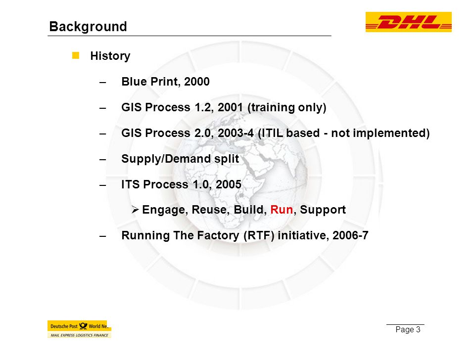 Page 3 History –Blue Print, 2000 –GIS Process 1.2, 2001 (training only) –GIS Process 2.0, 2003-4 (ITIL based - not implemented) –Supply/Demand split –ITS Process 1.0, 2005  Engage, Reuse, Build, Run, Support –Running The Factory (RTF) initiative, 2006-7 Background