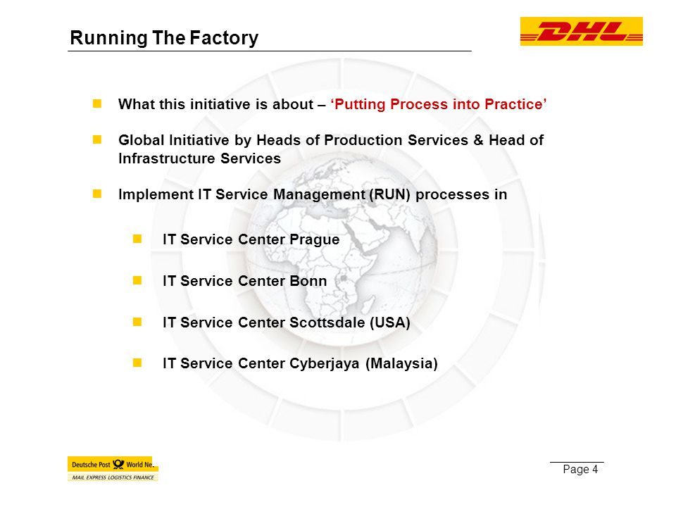 Page 4 What this initiative is about – 'Putting Process into Practice' Global Initiative by Heads of Production Services & Head of Infrastructure Services Implement IT Service Management (RUN) processes in nIT Service Center Prague nIT Service Center Bonn nIT Service Center Scottsdale (USA) nIT Service Center Cyberjaya (Malaysia) Running The Factory