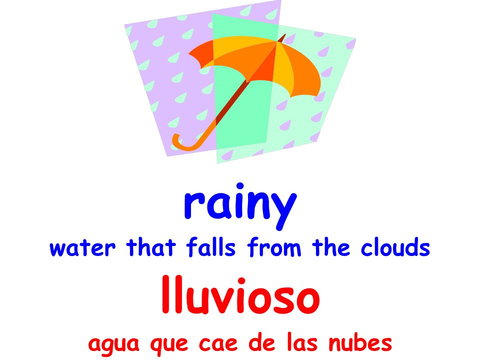 rainy water that falls from the clouds lluvioso agua que cae de las nubes
