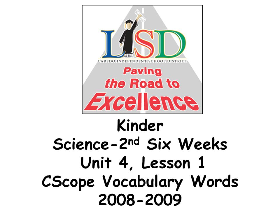 Kinder Science-2 nd Six Weeks Unit 4, Lesson 1 CScope Vocabulary Words 2008-2009