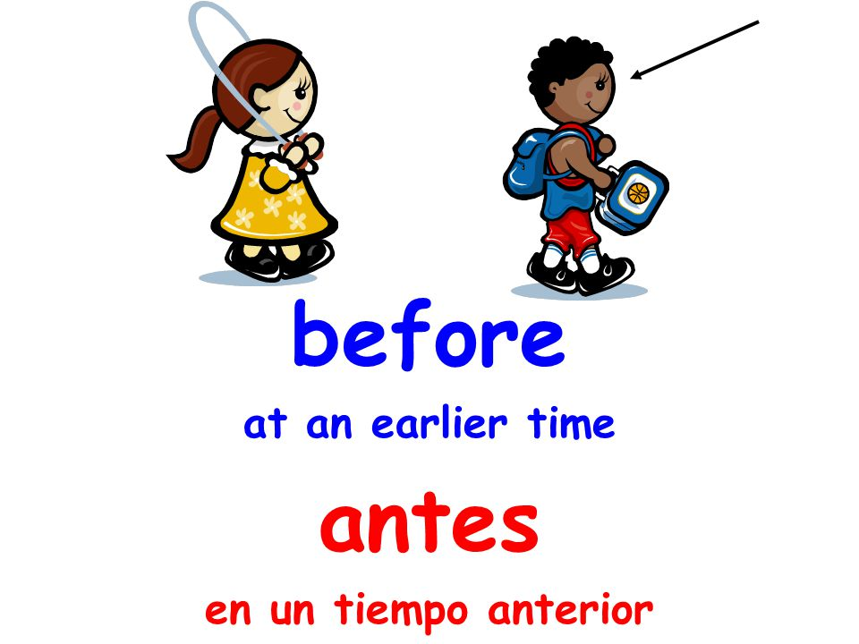 before at an earlier time antes en un tiempo anterior