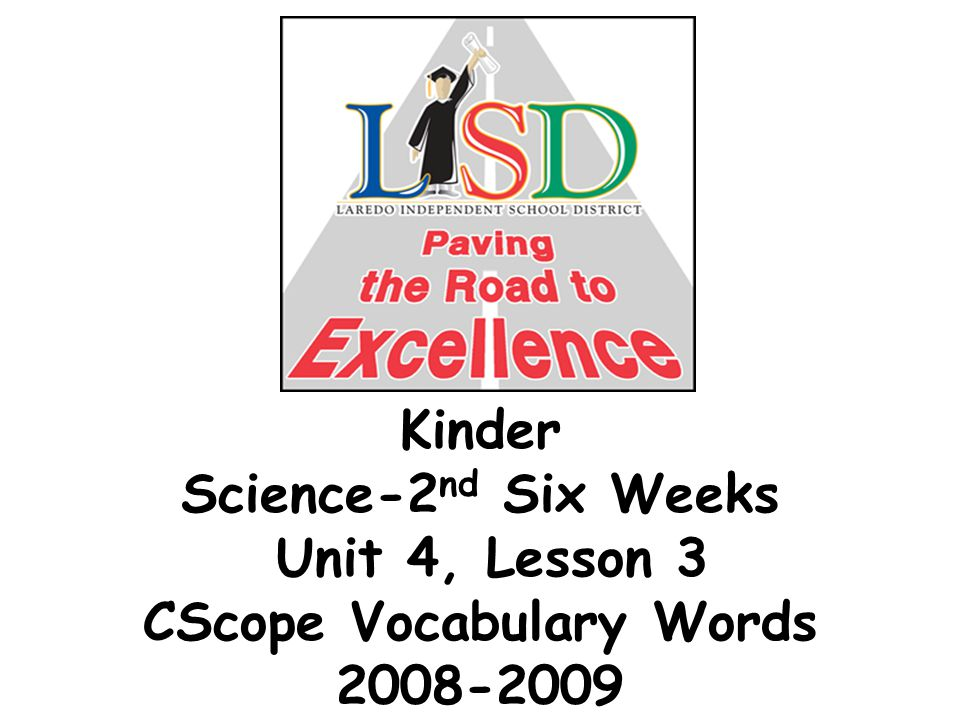 Kinder Science-2 nd Six Weeks Unit 4, Lesson 3 CScope Vocabulary Words 2008-2009