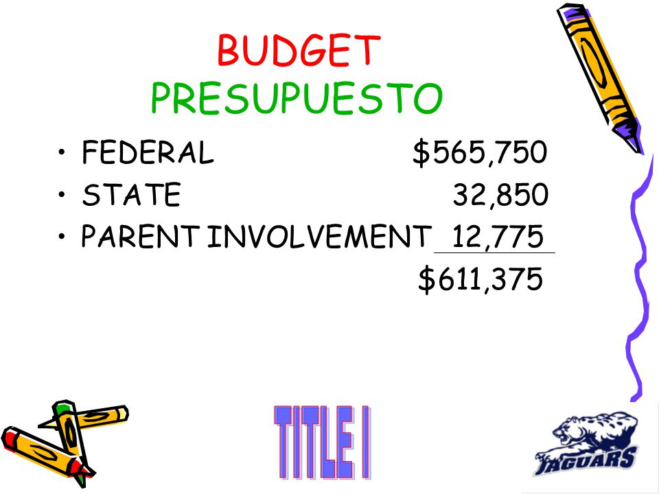 FEDERAL $565,750 STATE 32,850 PARENT INVOLVEMENT12,775 $611,375