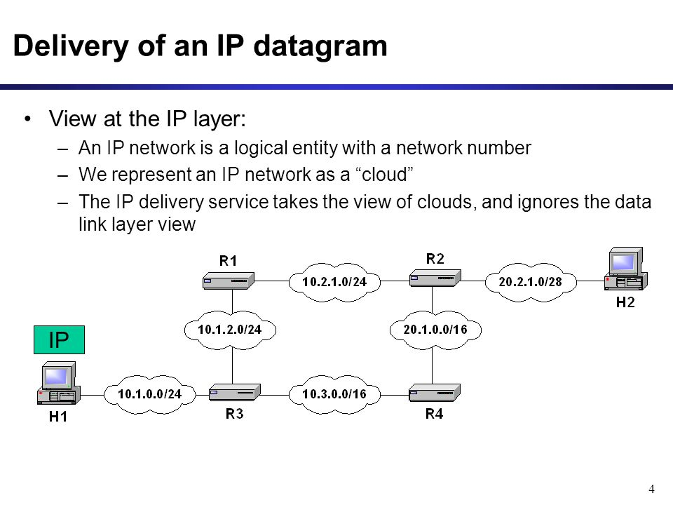 4 Delivery of an IP datagram IP View at the IP layer: –An IP network is a logical entity with a network number –We represent an IP network as a cloud –The IP delivery service takes the view of clouds, and ignores the data link layer view