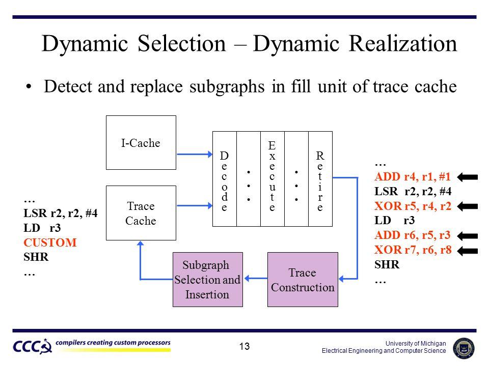 University of Michigan Electrical Engineering and Computer Science 13 … ADD r4, r1, #1 LSR r2, r2, #4 XOR r5, r4, r2 LD r3 ADD r6, r5, r3 XOR r7, r6,
