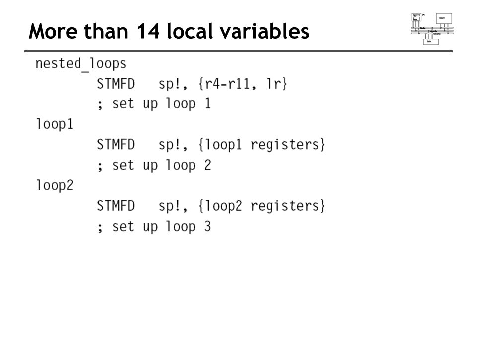 More than 14 local variables