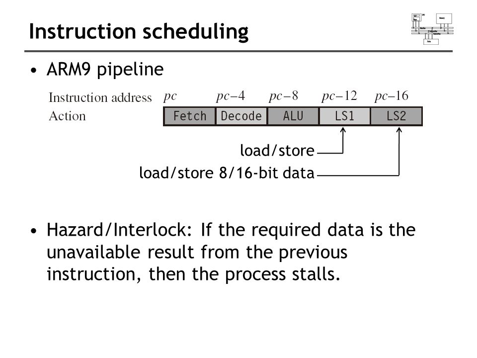 Instruction scheduling ARM9 pipeline Hazard/Interlock: If the required data is the unavailable result from the previous instruction, then the process stalls.