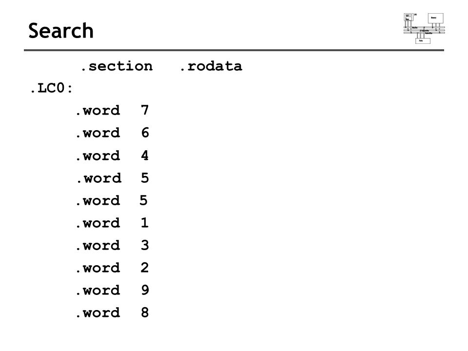 Search.section.rodata.LC0:.word 7.word 6.word 4.word 5.word 1.word 3.word 2.word 9.word 8