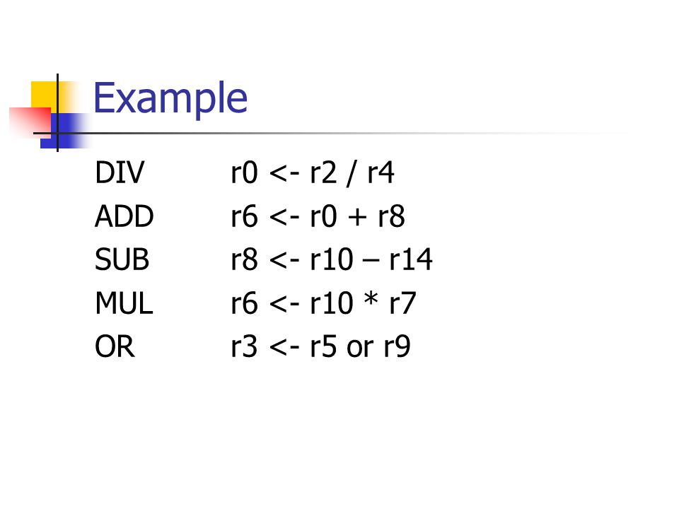 Example DIVr0 <- r2 / r4 ADDr6 <- r0 + r8 SUB r8 <- r10 – r14 MULr6 <- r10 * r7 ORr3 <- r5 or r9