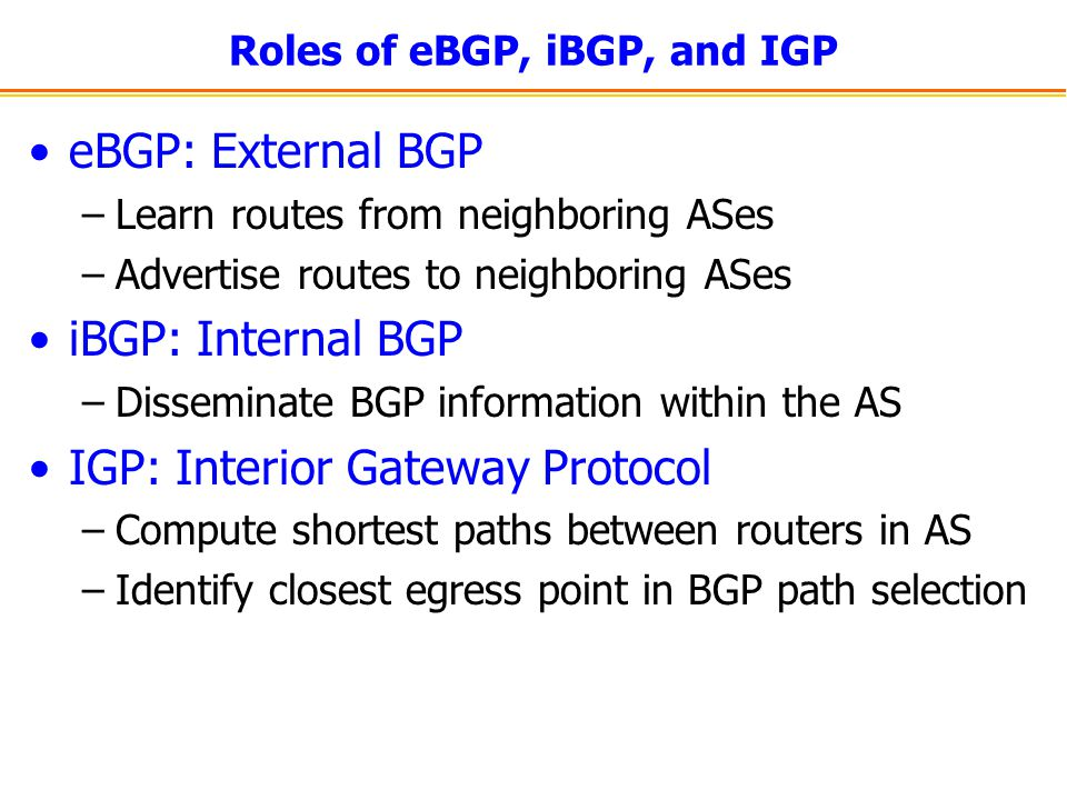 Roles of eBGP, iBGP, and IGP eBGP: External BGP –Learn routes from neighboring ASes –Advertise routes to neighboring ASes iBGP: Internal BGP –Disseminate BGP information within the AS IGP: Interior Gateway Protocol –Compute shortest paths between routers in AS –Identify closest egress point in BGP path selection