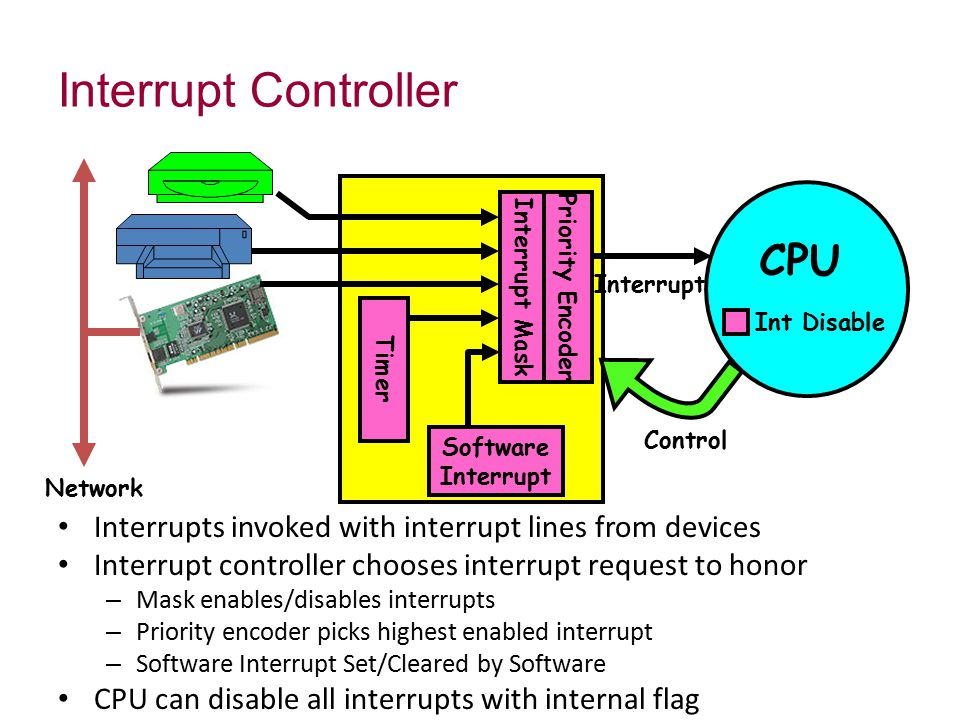 Interrupts invoked with interrupt lines from devices Interrupt controller chooses interrupt request to honor – Mask enables/disables interrupts – Priority encoder picks highest enabled interrupt – Software Interrupt Set/Cleared by Software CPU can disable all interrupts with internal flag Interrupt Controller Network Interrupt Interrupt Mask Control Software Interrupt CPU Priority Encoder Timer Int Disable