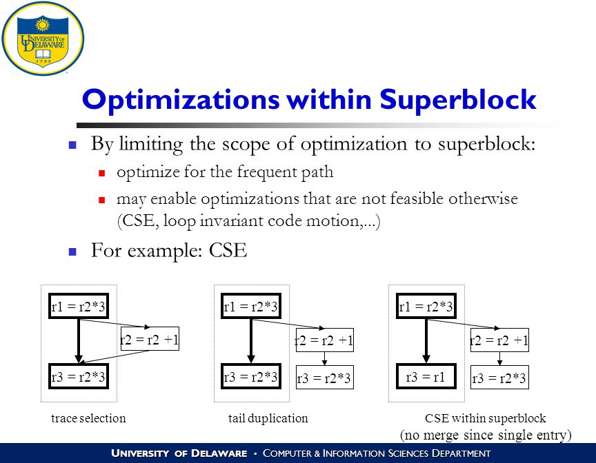 U NIVERSITY OF D ELAWARE C OMPUTER & I NFORMATION S CIENCES D EPARTMENT Optimizations within Superblock By limiting the scope of optimization to superblock: optimize for the frequent path may enable optimizations that are not feasible otherwise (CSE, loop invariant code motion,...) For example: CSE r1 = r2*3 r2 = r2 +1 r3 = r2*3 trace selection r1 = r2*3 r2 = r2 +1 r3 = r2*3 tail duplication r1 = r2*3 r2 = r2 +1 r3 = r1 r3 = r2*3 CSE within superblock (no merge since single entry)