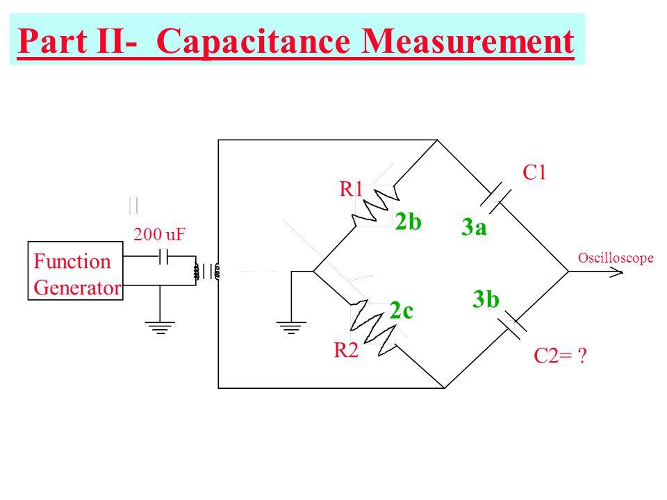 Part II- Capacitance Measurement Function Generator R1 R2 C1 C2= ? 200 uF Oscilloscope 2b 2c 3a 3b