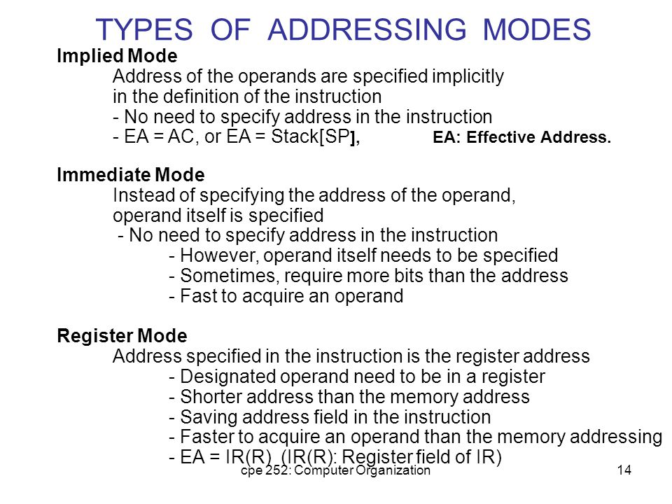cpe 252: Computer Organization14 TYPES OF ADDRESSING MODES Implied Mode Address of the operands are specified implicitly in the definition of the inst