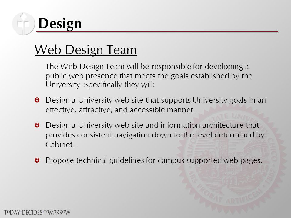 Design Web Design Team The Web Design Team will be responsible for developing a public web presence that meets the goals established by the University.