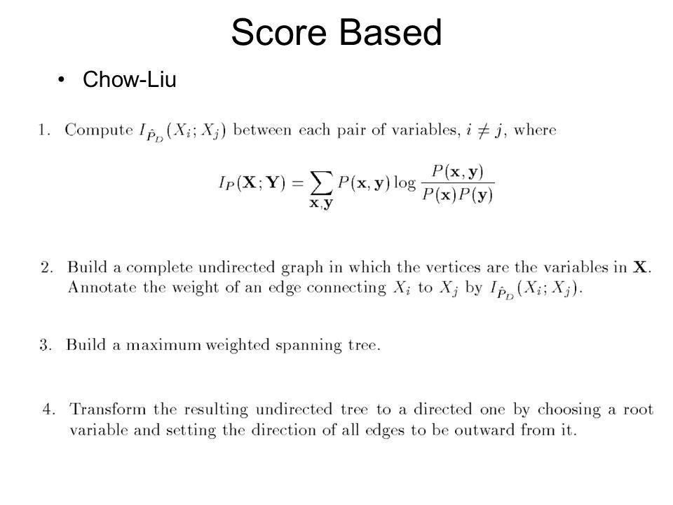 Score Based Chow-Liu