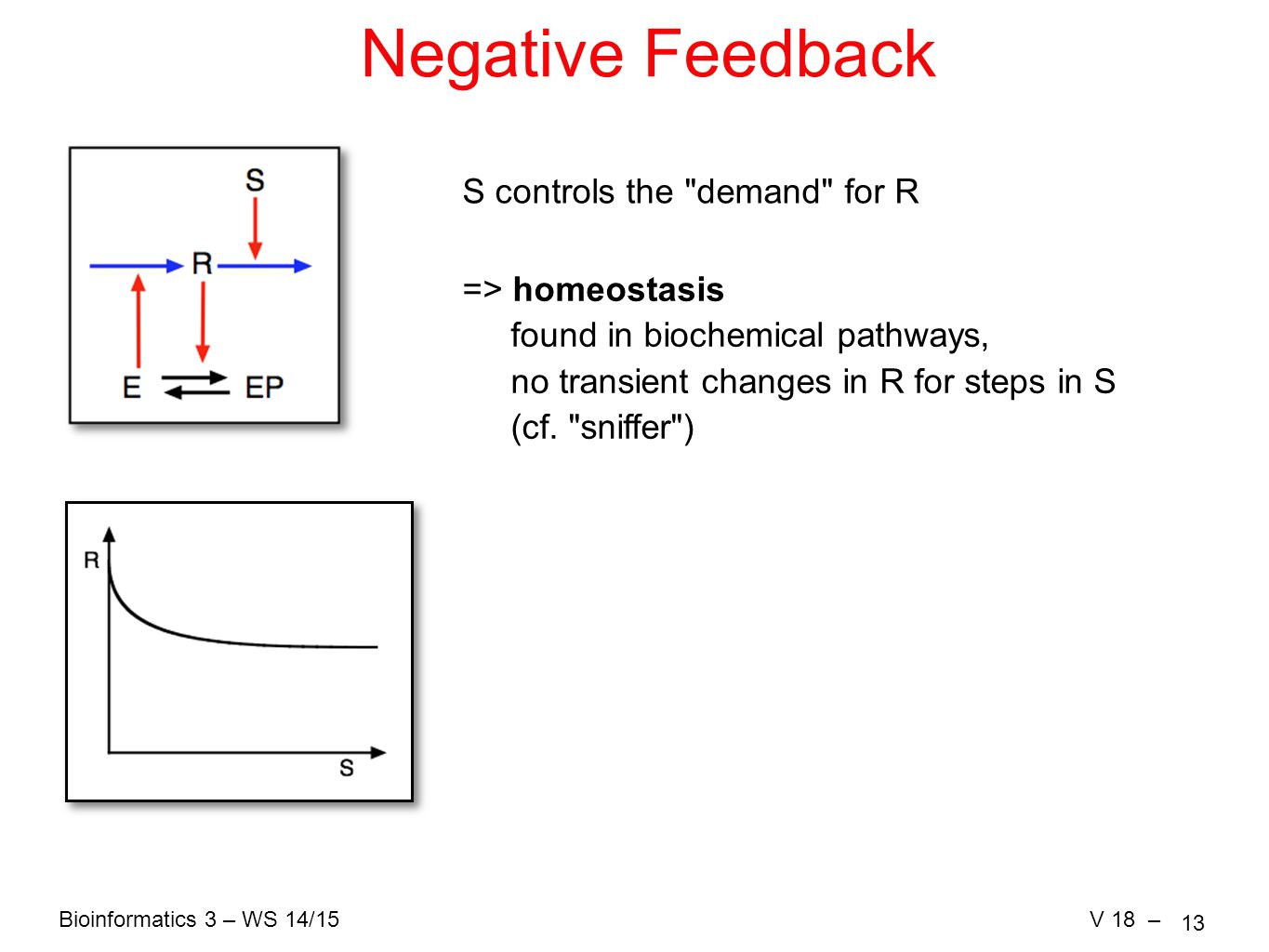 Bioinformatics 3 – WS 14/15V 18 – 13 Negative Feedback S controls the demand for R => homeostasis found in biochemical pathways, no transient changes in R for steps in S (cf.