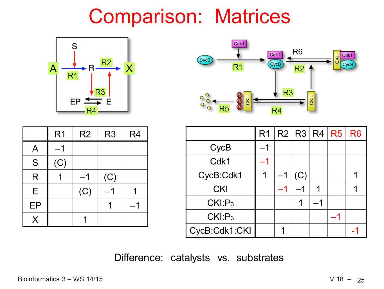Bioinformatics 3 – WS 14/15V 18 – 25 Comparison: Matrices AX R1 R2 R3 R4 R1R2R3R4 A–1 S(C) R1–1(C) E –11 EP1–1 X1 R1 R2 R3 R4 R5 Difference: catalysts