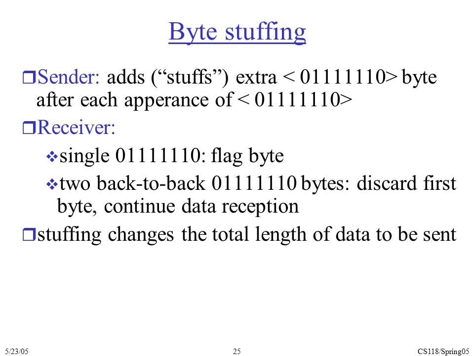 """5/23/05CS118/Spring0525 Byte stuffing r Sender: adds (""""stuffs"""") extra byte after each apperance of r Receiver:  single 01111110: flag byte  two back"""