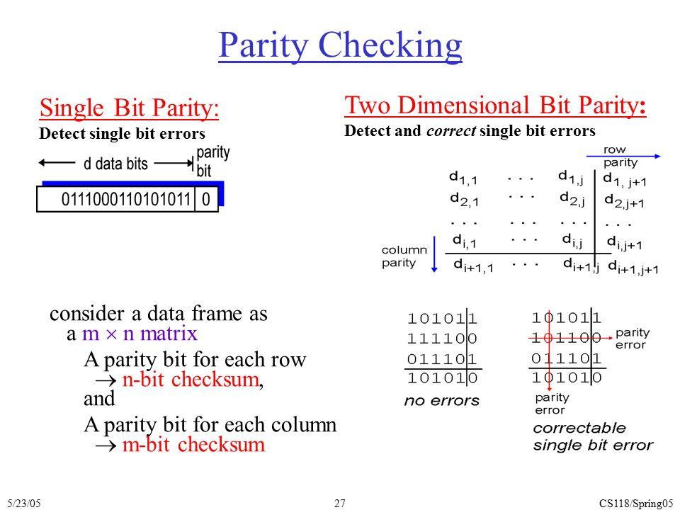 5/23/05CS118/Spring0527 Parity Checking Single Bit Parity: Detect single bit errors Two Dimensional Bit Parity: Detect and correct single bit errors c