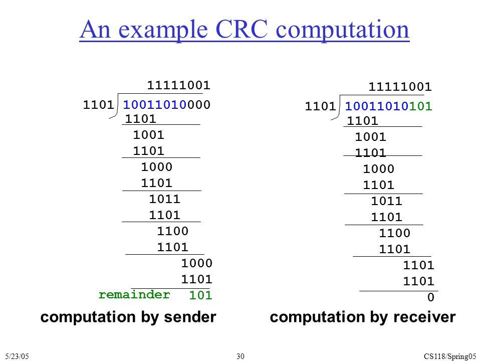 5/23/05CS118/Spring0530 An example CRC computation 1101 10011010000 1101 1001 1101 1000 1101 1011 1101 1100 1101 1000 1101 101 remainder 11111001 comp