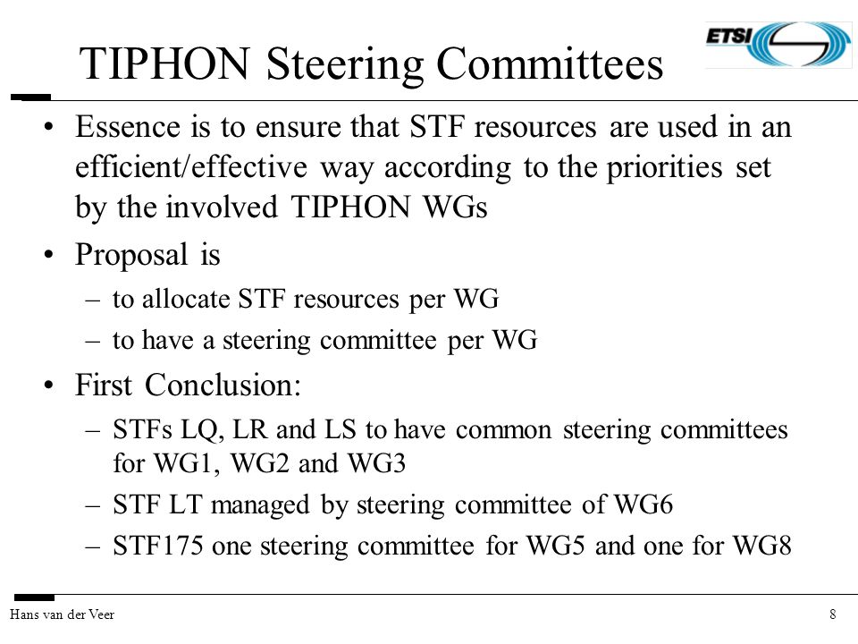 8Hans van der Veer TIPHON Steering Committees Essence is to ensure that STF resources are used in an efficient/effective way according to the prioriti