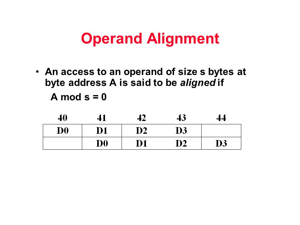 Operand Alignment An access to an operand of size s bytes at byte address A is said to be aligned if A mod s = 0